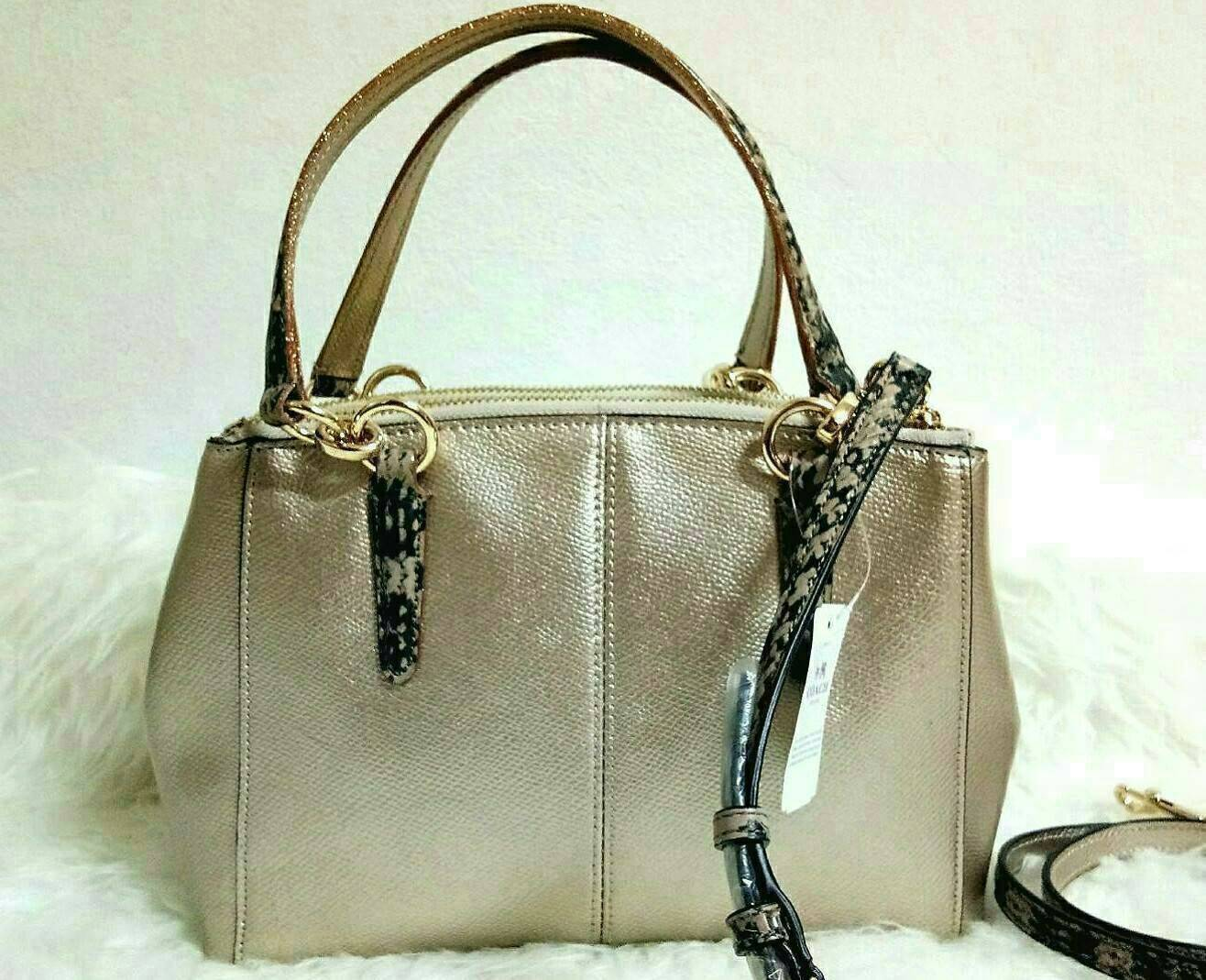 Coach F55515 MINI CHRISTIE CARRYALL IN METALLIC LEATHER WITH EXOTIC TRIM แท้