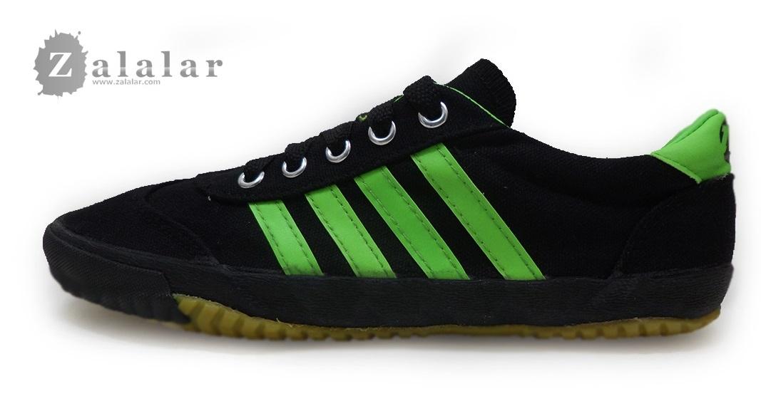 [พร้อมส่ง]รองเท้าผ้าใบแฟชั่น สีดำคาดเขียว รุ่น AC