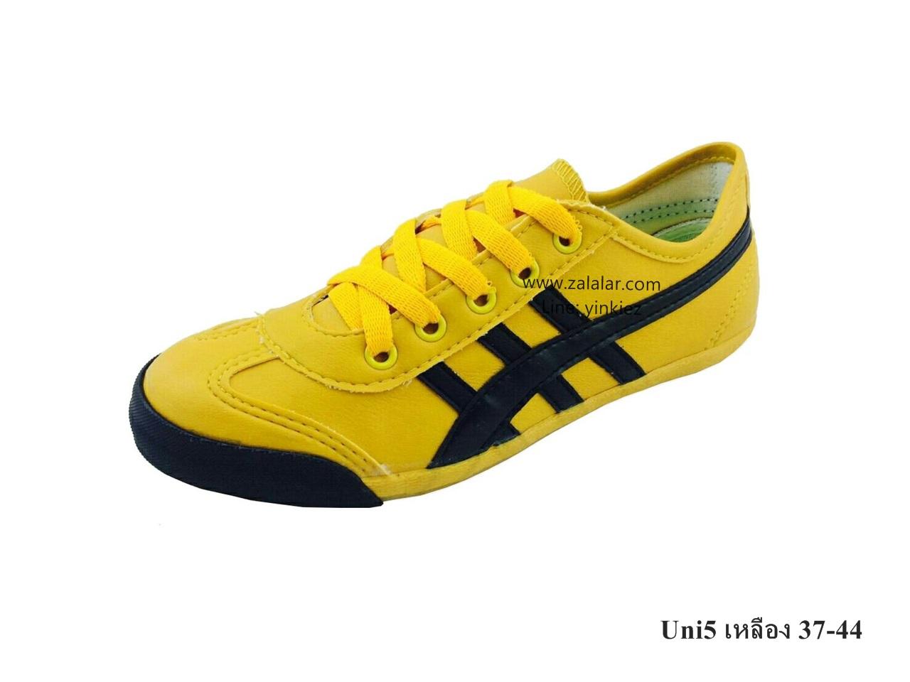 [พร้อมส่ง] รองเท้าผ้าใบแฟชั่น รุ่น Uni5 สีเหลือง แบบหนัง