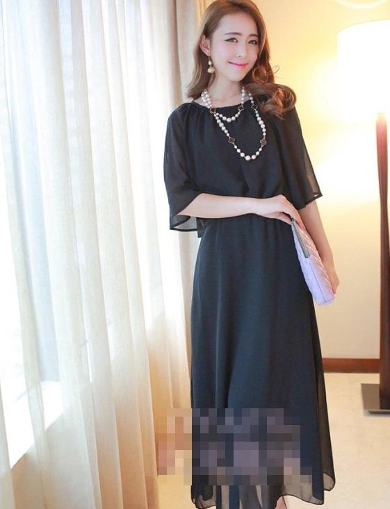 ชุดเดรสยาวแฟชั่นเกาหลี สีดำ ผ้าชีฟอง ผ่าไหล่เก๋ๆ เป็นชุดเดรสสวยหวาน น่ารัก ดูเรียบร้อย ( S M L XL )