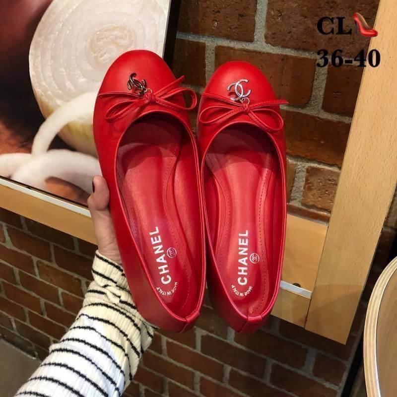 รองเท้าคัทชู ส้นแบน ทรงหัวมน แต่งโบว์ประดับ CC เรียบหรูน่ารักสไตล์ชาแนล หนังนิ่ม ทรงสวย ใส่สบาย แมทสวยได้ทุกชุด