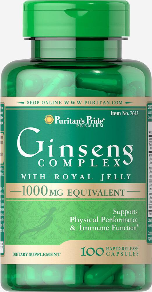 โสมสกัด 3 สายพันธุ์ ผสมนมผึ้ง Puritan's Pride Ginseng Complex 1000 mg / 100 capsules