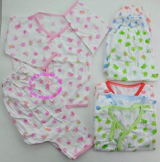 เสื้อกระดุมหน้าแขนยาว พร้อมกางเกงต่อกันขายาว ผ้า cotton 100% พิมพ์ลาย ใส่ได้ตั้งแต่แรกเกิด