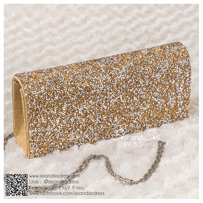 bs0010 กระเป๋าคลัช สีทอง กระเป๋าออกงานพร้อมส่ง ราคาถูกกว่าเช่า แบบสวยๆ ดูดีเหมือนดาราใช้