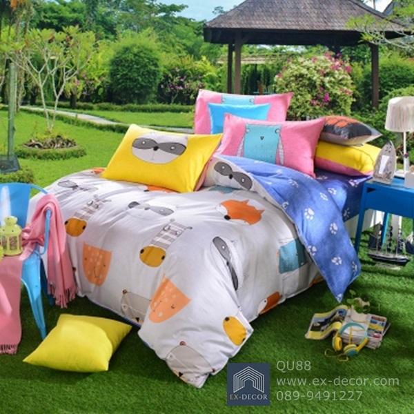 (Pre-order) ชุดผ้าปูที่นอน ปลอกหมอน ปลอกผ้าห่ม ผ้าคลุมเตียง ผ้าฝ้ายพิมพ์ลายการ์ตูนสไตล์วินเทจ