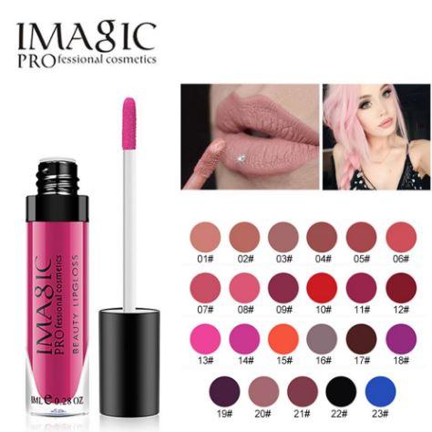 *พร้อมส่ง*Imagic Professional Cosmetics Beauty Lipgloss แปลกใหม่ด้วยลิปกรอสเนื้อแมทกันน้ำ แบรนด์อเมริกา ที่ให้ความชุ่มชื่นทาง่ายแบบลิปกรอส เมื่อแห้งให้ความแมทสวยติดทนนาน ไม่เป็นคราบเกิน 8 ชั่วโมง สีสันชัด เนื้อสีแน่นปิดริมฝีปากมิด ไม่แห้งแตก ,