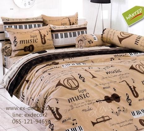 ชุดผ้าปูที่นอน ปลอกหมอน ผ้าห่มนวม หมอนข้าง TOTO ลายตัวโน๊ตดนตรี ลายดนตรีสีน้ำตาล