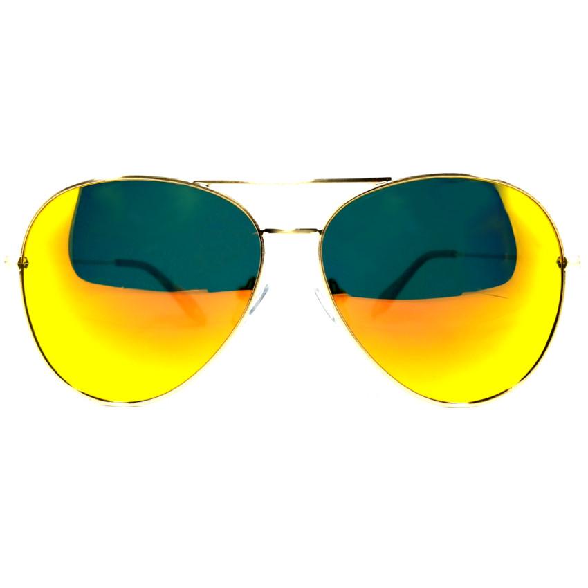 แว่นกันแดด ทรง aviator ชุมทอง 5 ไมครอน เลนส์ปรอบสีทอง - 14,60