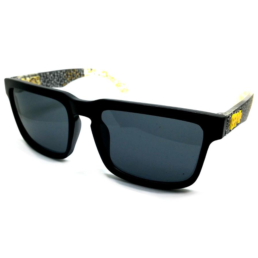 แว่นกันแดด SPY P ลายสีเหลือง กรอบดำ เลนส์ดำ(14,5.8)