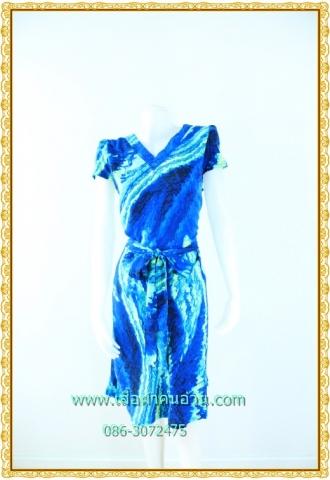 1592ชุดทํางาน เสื้อผ้าคนอ้วนคอวีแขนฟิลิปปินส์สีกลีบบัวลวดลายกราฟฟิคแต่งโบสไตล์หวานกระโปรงทรงเอย้วยเล็กน้อย