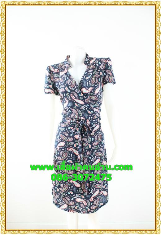 2657ชุดเสื้อผ้าคนอ้วน ชุดทำงานลายไทยวินเทจสไตล์เปรี้ยวหรูไฮโซชุดคอจีนป้ายสำเร็จเก็บทรงเนี๊ยบสุด พร้อมโบคาดเอว