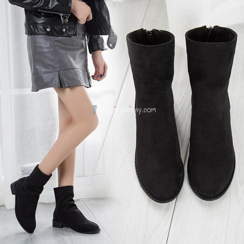 รองเท้าบูทสั้นหนังนิ่ม บุขนกันหนาว มี 2 สี