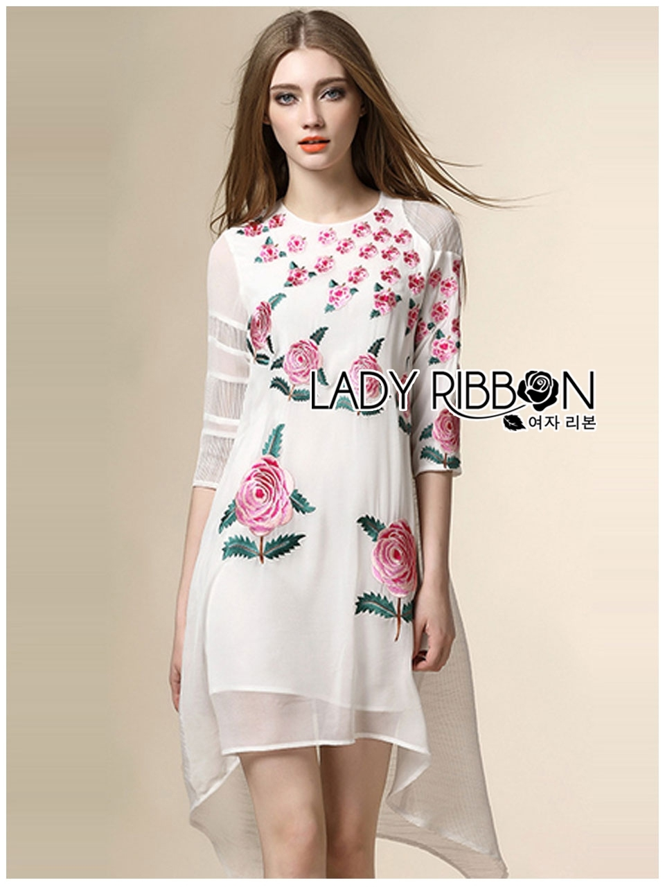 🎀 Lady Ribbon's Made 🎀 Lady Stephanie Sweet Pinky English Roses Embroidered Dress