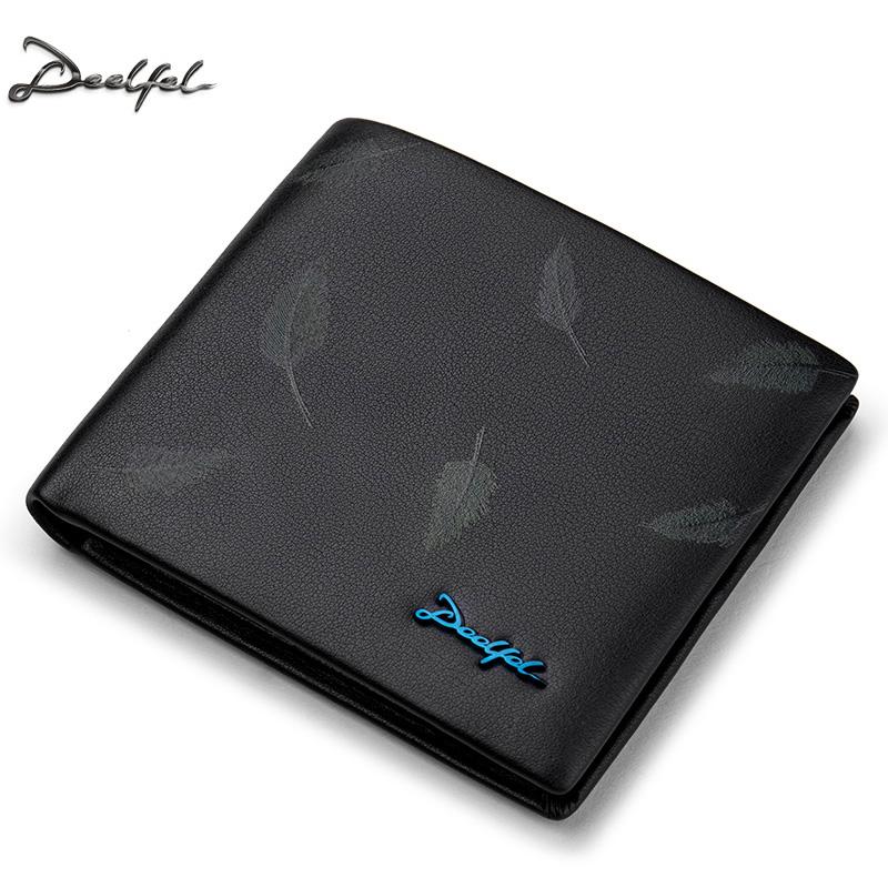 DEELFEL GS03 แนวนอน กับ แนวตั้ง กระเป๋าสตางค์ผู้ชายหนังแท้ กระเป๋าสตางค์ใบสั้น สีดำ ลายขนนก กระเป๋าเงิน กระเป๋าถือ