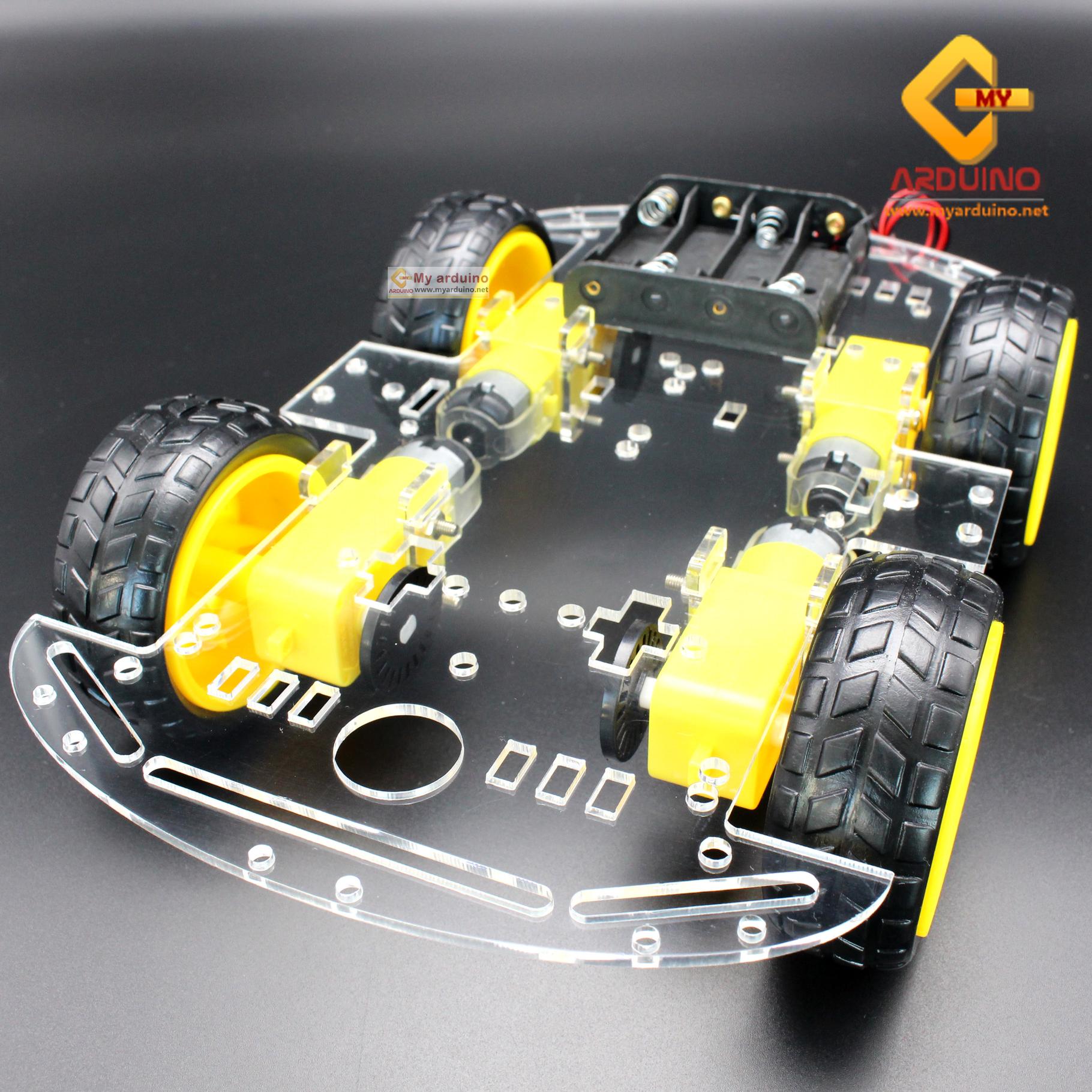 โครงรถ หุ่นยนต์ 4WD สีใส smart car chassis 1 ชั้น
