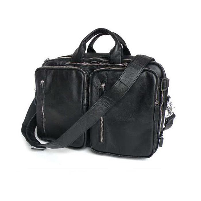 GT-7041 B กระเป๋าหนังแท้ 3สไตล์ สะพายข้าง/ถือ/เป้ สีดำ