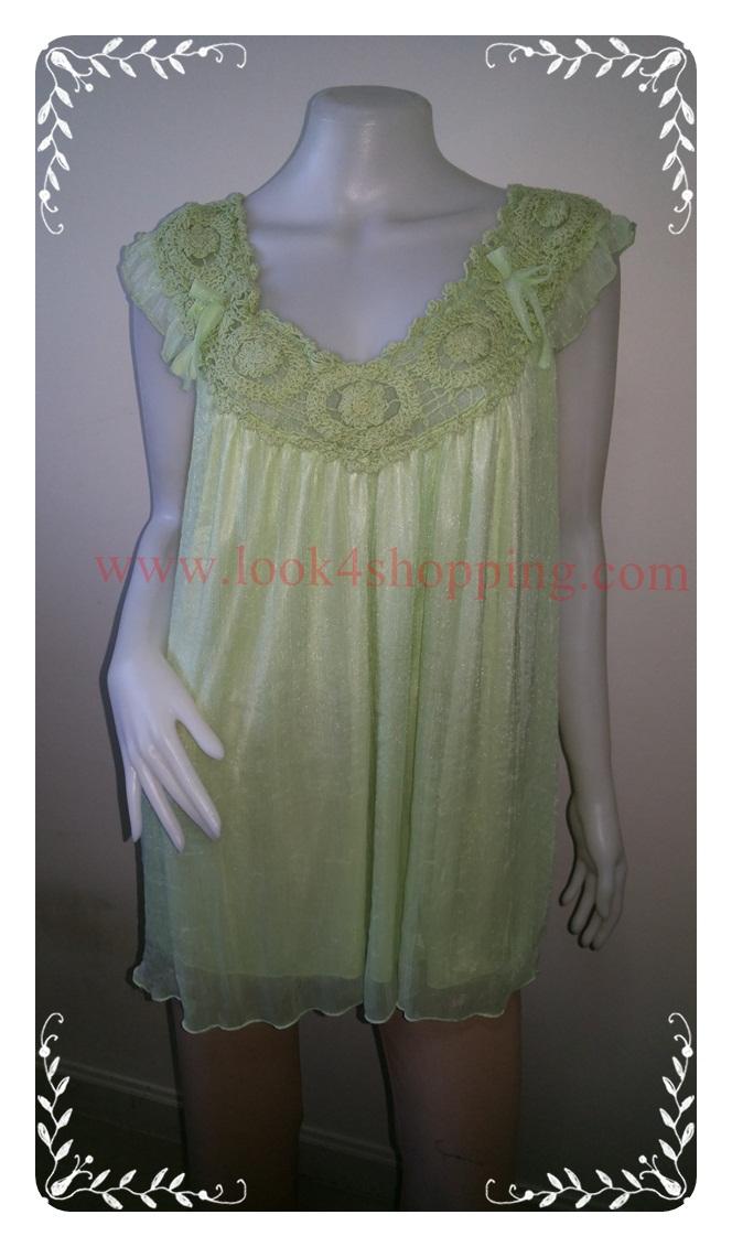 """jp3272-เสื้อแฟชั่น สวยๆ นำเข้า สีเขียวอ่อน """"อก free-50 นิ้ว"""""""