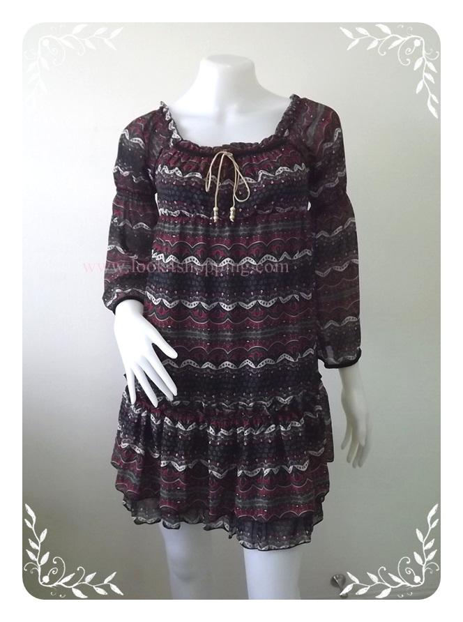 """Dress0513--เดรสแฟชั่น ชีฟอง สวยๆ """"อก 28-33 นิ้ว"""""""