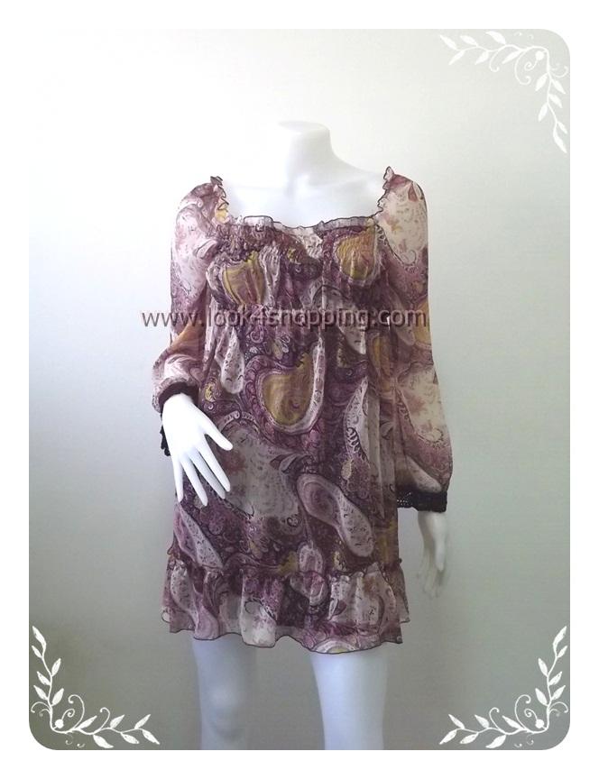 """Dress0471--เดรสแฟชั่น นำเข้า ชีฟอง """"อก 30 - 35 นิ้ว """""""