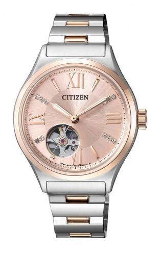 นาฬิกาผู้หญิง Citizen รุ่น PC1009-51W, Open Heart Automatic Sapphire Swarovski Rose Gold