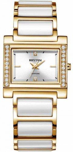 นาฬิกาผู้หญิง Rhythm รุ่น F1209T04, Sapphire Fashion Series Gold Tone F1209T-04, F1209T 04