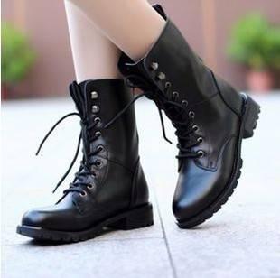 (พร้อมส่ง) รองเท้าบูททรงสูงผูกเชือกสไตล์ยุโรป