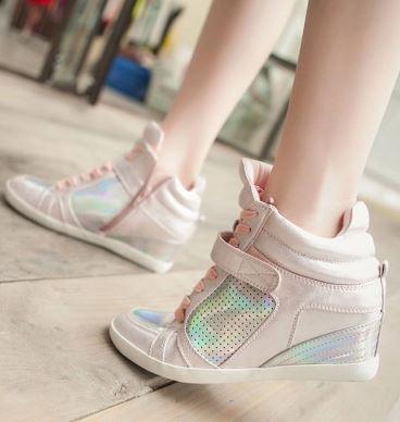 รองเท้าผ้าใบหุ้มข้อเสริมสูงประดับซิป