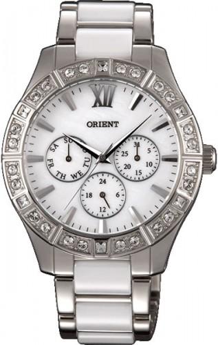 นาฬิกาข้อมือผู้หญิง Orient รุ่น SSW01004W0, Quartz Crystal Multi-Dial Mother Of Pearl Elegant
