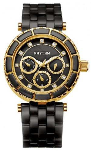 นาฬิกาผู้หญิง Rhythm รุ่น C1103C06, Sapphire Swarovski Black Ceramic C1103C 06, C1103C-06