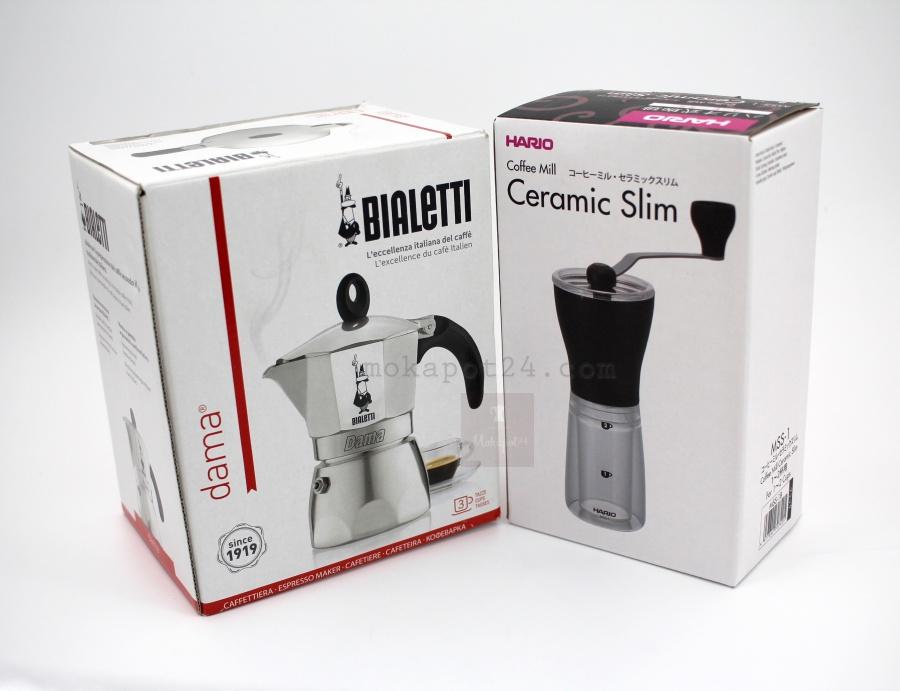 หม้อต้มกาแฟ Bialetti Moka dama 3 cup + เครื่องบดกาแฟ มือหมุน Hario Slim