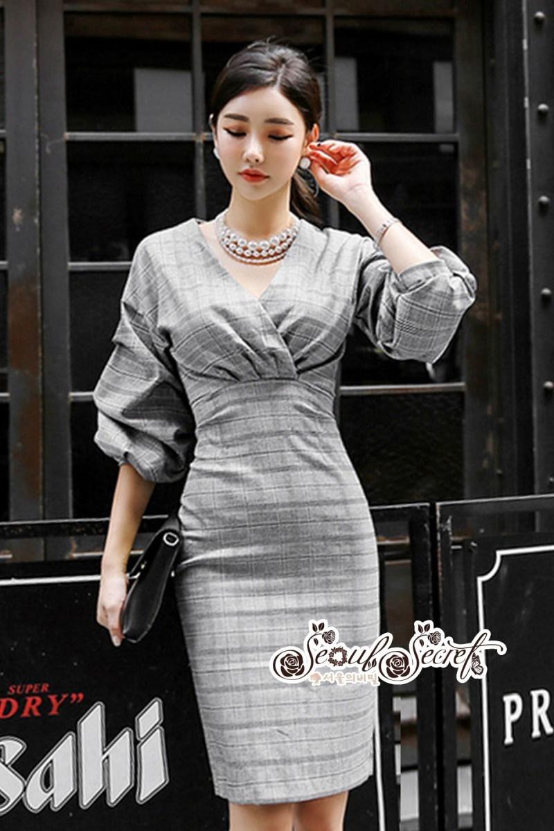 เสื้อผ้าแฟชั่นเกาหลี Lady Ribbon Thailand Seoul Secret Say's...Dress Scott Gray Style Working Woman