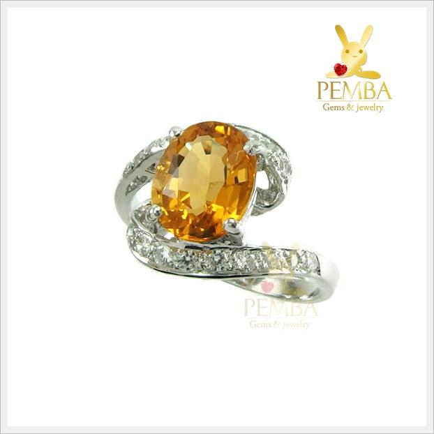 แหวนซิทรินแท้ ชุบทองคำขาว