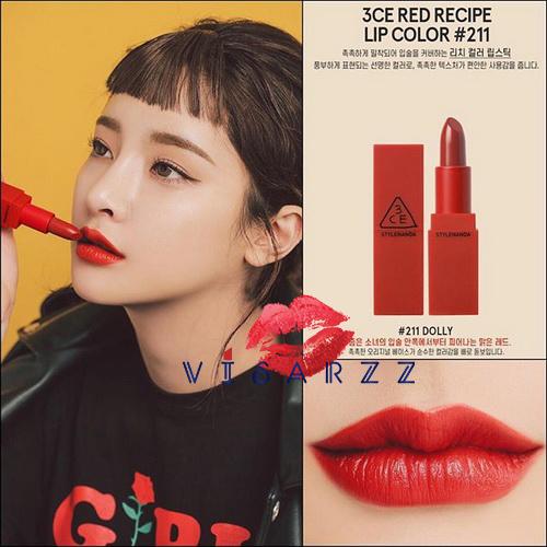 3CE Red Recipe Matte Lip Color # 211 Dolly ลิปสติก Limited Edition พิเศษสำหรับช่วงนี้เท่านั้น