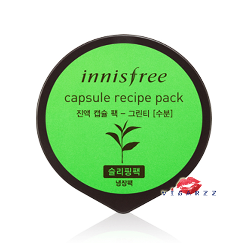 Innisfree Capsule Recipe Pack 10mL #Green Tea มาส์กหน้าด้วยสารสกัดจากชาเขียวช่วยเติมเต็มผิวด้วยความชุ่มชื้น