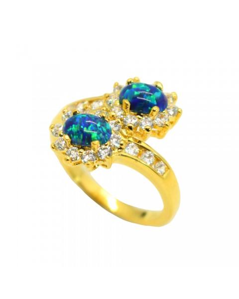 แหวนโอปอลสีฟ้าล้อมเพชร ตัวเรือนอัลลอยด์หุ้มทองคำแท้