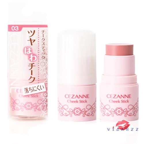 (New สีใหม่ 2017) Cezanne Cheek Stick 5g # 03 Rose บลัชออนเนื้อครีมรูปแบบสติ๊ก เกลี่ยง่าย ไม่เป็นคราบ ให้พวงแก้มและริมฝีปากสวยฉ่ำระเรื่อ น่ารัก ดูอ่อนเยาว์