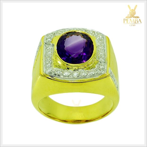 แหวนพลอยอเมทิสต์แท้ ทองแท้(สามารถสั่งทำได้ค่ะ)