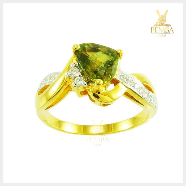 แหวนเขียวส่องแท้ ทองแท้ สวยเก๋อย่างมีสไตล์(สามารถสั่งทำได้ค่ะ)