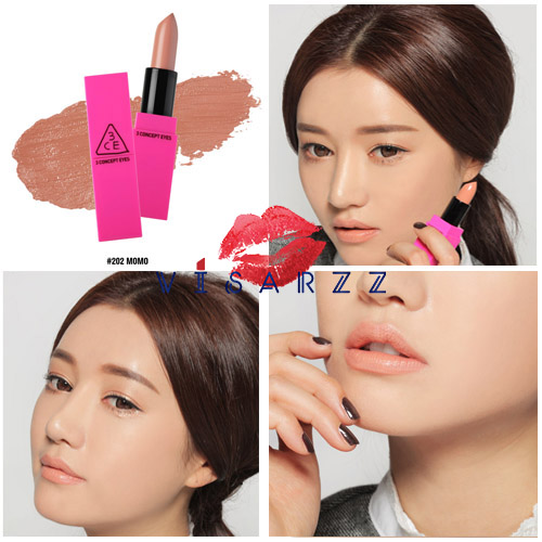 3CE x Pink Lip Color # 202 Momo คอลเลคชั่นใหม่ PINK x PINK เนื้อนุ่มลื่น ทาง่ายดุจเนื้อครีม