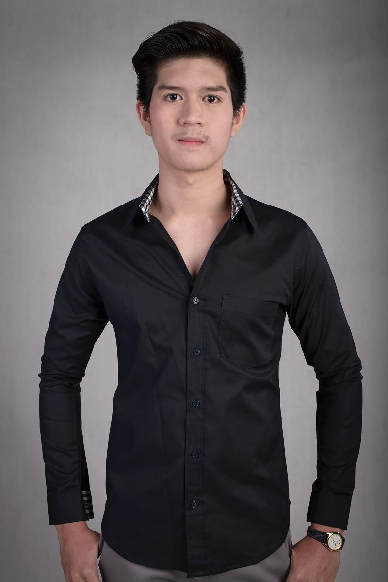 เสื้อเชิ้ตผู้ชายสีดำ ผ้า Oxford