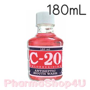 (สีแดง) C-20 Chlorhexidine Antiseptic Mouth Wash 180ml. น้ำยาบ้วนปากรักษาและป้องกันโรคเหงือกอักเสบ รักษาเชื้อราในช่องปาก ป้องกันการสะสมของคราบหินปูน
