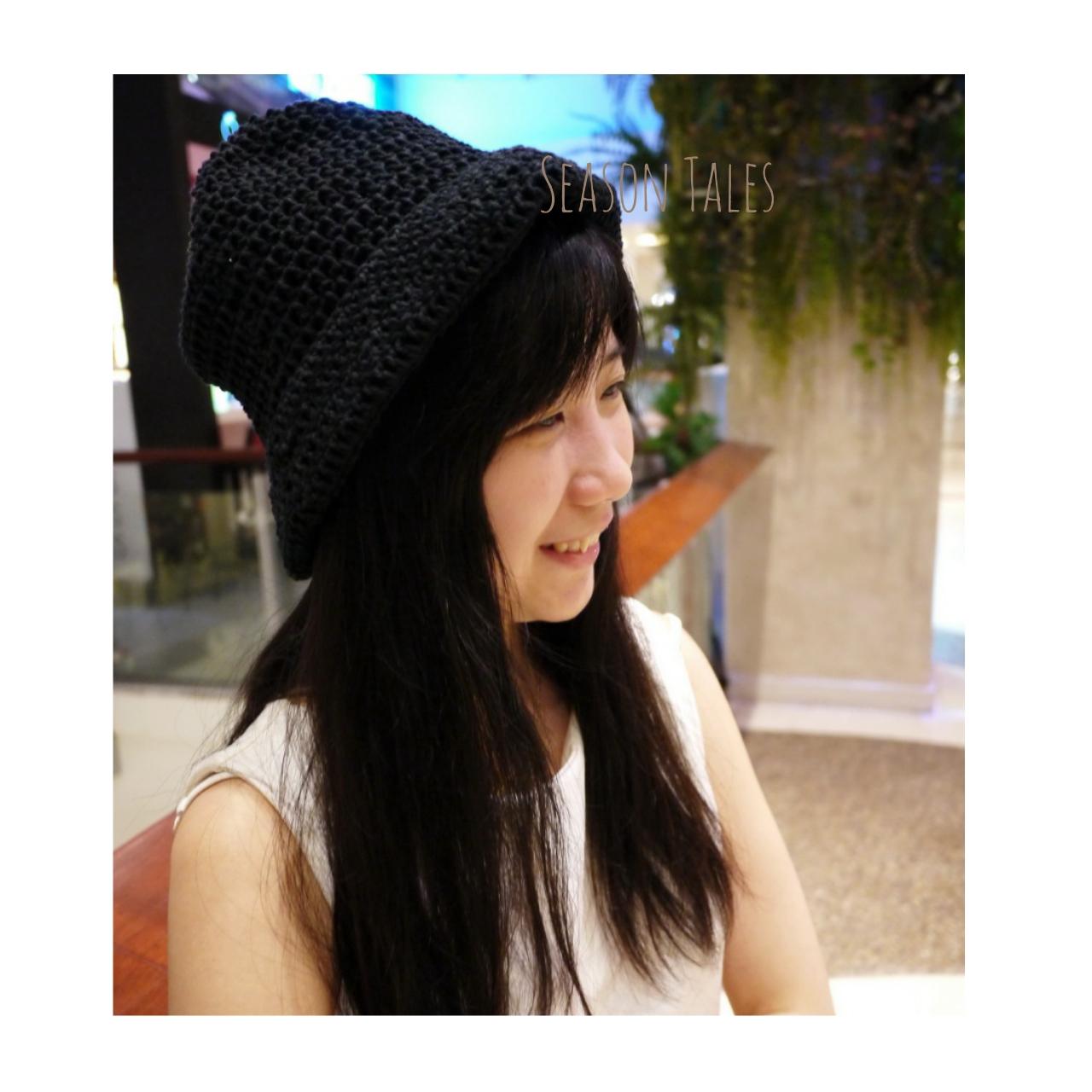หมวกถัก แฮนด์เมด สีดำ