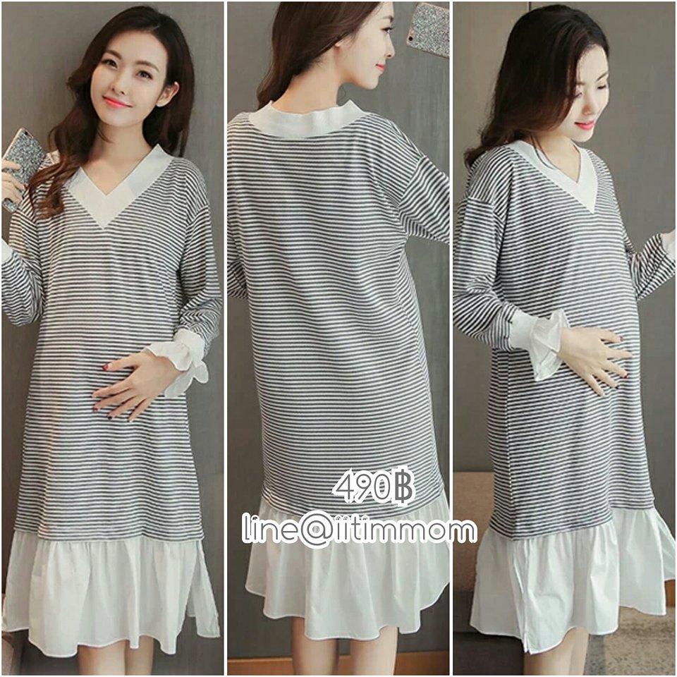 maxi dress แขนยาว ชายชุดเป็นผ้าสีขาวระบาย แขนยาว ผ้ายืดสีเทาสลับขาว