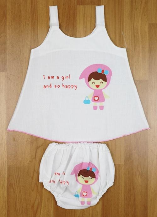 ชุดเด็กหญิงผ้าป่าน (แรกเกิด-6 เดือน )