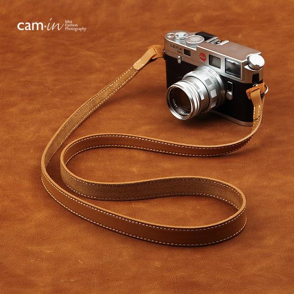 สายคล้องกล้องหนังแท้เส้นเล็ก Cam-in leather camera strap น้ำตาลอ่อน แบบห่วง