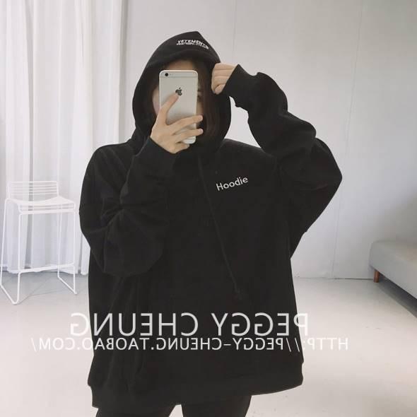 เสื้อแฟชั่น มีฮูด แขนยาว ผ้าฝ้าย บุกันหนาว ลาย Hoodie สีดำ