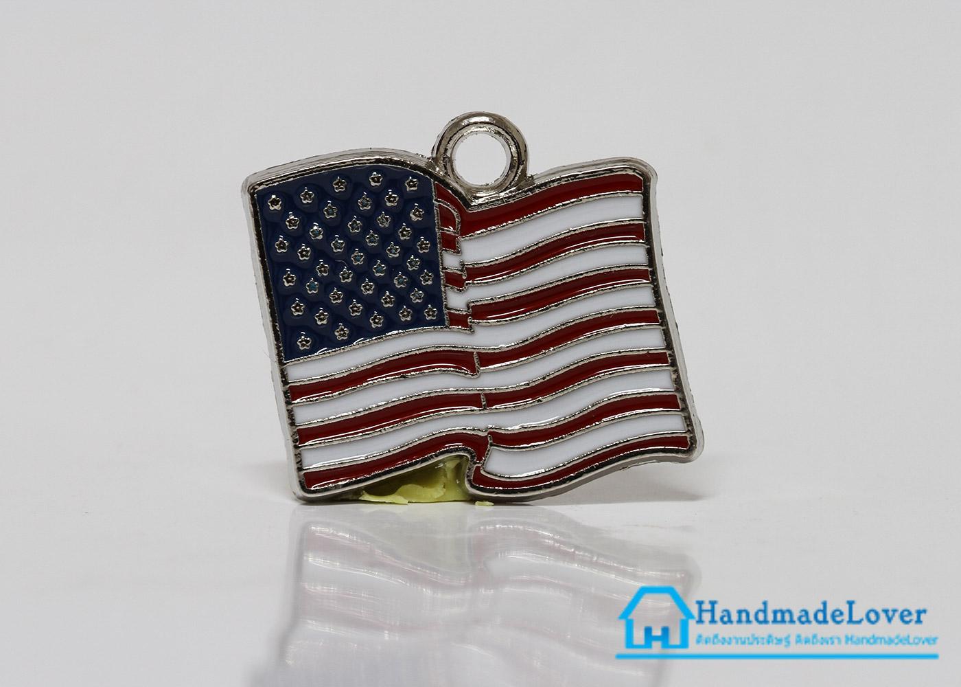 จี้อัลลอยด์ เคลือบสี รูปธงชาติอเมริกา