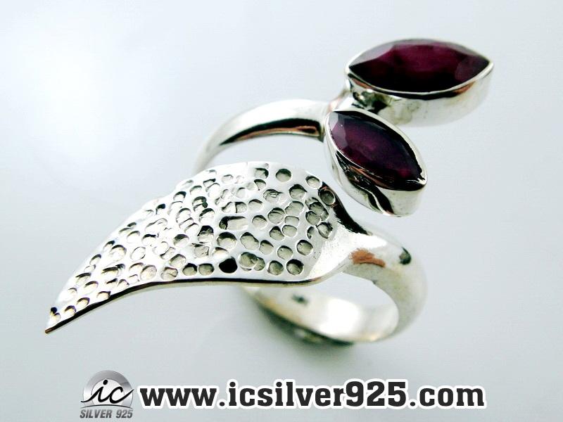 ▽ทับทิมอินเดีย Indian Ruby- แหวนเงินแท้ 925 (แหวนเบอร์ : 59 , 4.7g)