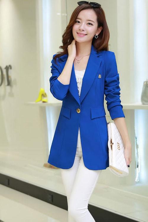 (สินค้าหมด) เสื้อสูทแฟชั่น เสื้อสูทผู้หญิง สีน้ำเงิน ตัวยาวคลุมสะโพก แต่งสายคาดเอวด้านหลัง