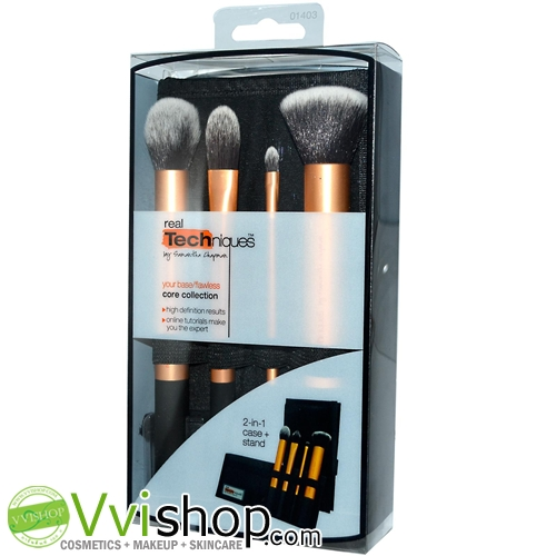 Real Techniques Core Collection 4 full-size brushes + case 2 in 1 เซ็ทแปรงเตรียมผิวให้สวยสมบรูณ์แบบ
